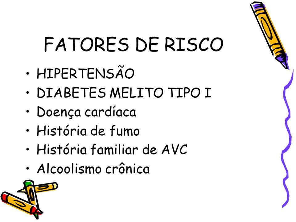 FATORES DE RISCO HIPERTENSÃO DIABETES MELITO TIPO I Doença cardíaca História de fumo História familiar de AVC Alcoolismo crônica