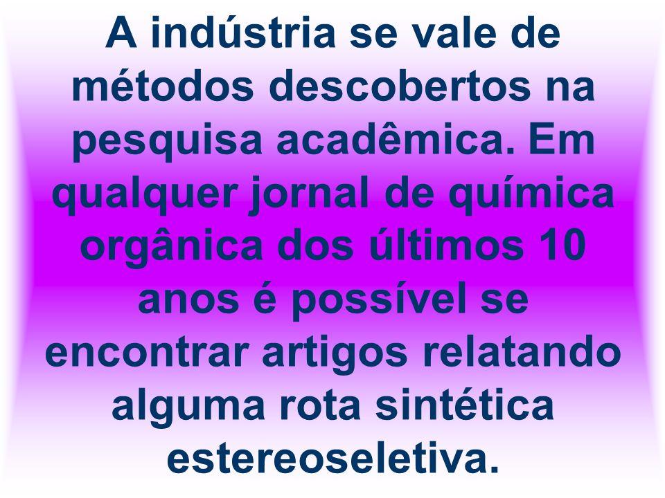 A indústria se vale de métodos descobertos na pesquisa acadêmica. Em qualquer jornal de química orgânica dos últimos 10 anos é possível se encontrar a