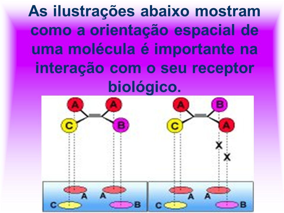 As ilustrações abaixo mostram como a orientação espacial de uma molécula é importante na interação com o seu receptor biológico.