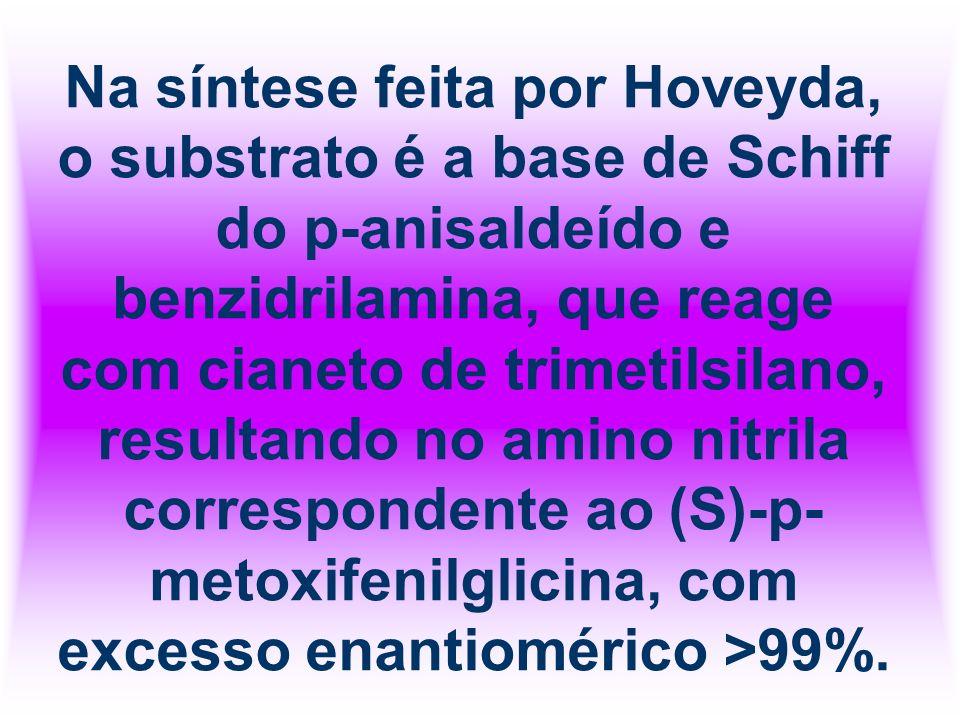 Na síntese feita por Hoveyda, o substrato é a base de Schiff do p-anisaldeído e benzidrilamina, que reage com cianeto de trimetilsilano, resultando no