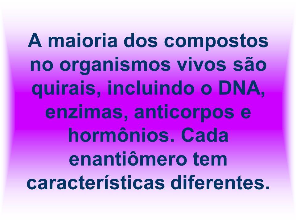 A maioria dos compostos no organismos vivos são quirais, incluindo o DNA, enzimas, anticorpos e hormônios. Cada enantiômero tem características difere