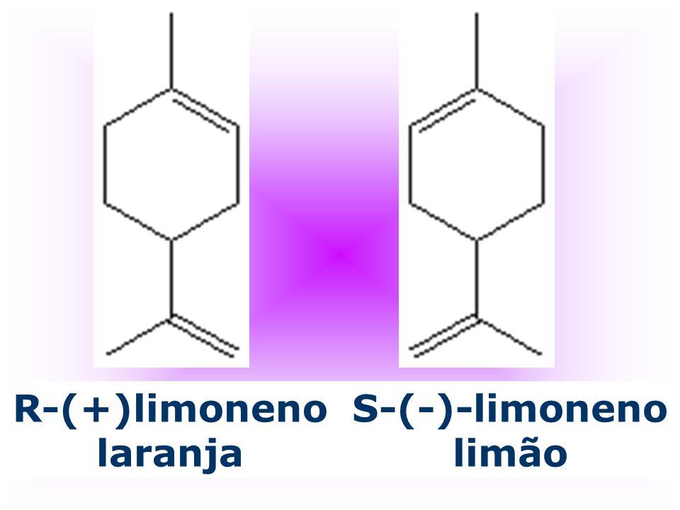 R-(+)limoneno laranja S-(-)-limoneno limão