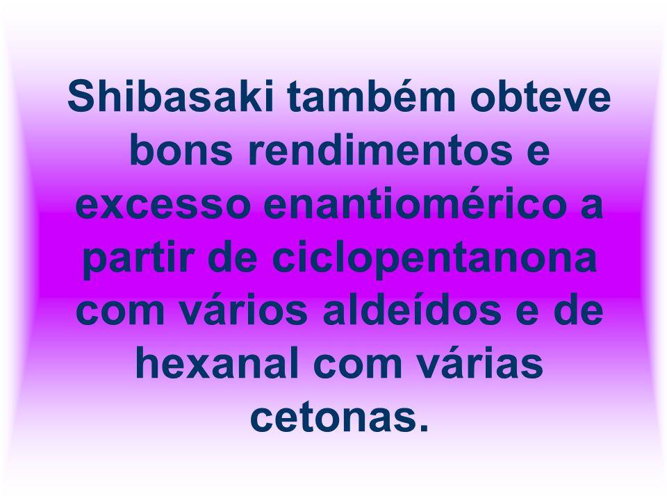 Shibasaki também obteve bons rendimentos e excesso enantiomérico a partir de ciclopentanona com vários aldeídos e de hexanal com várias cetonas.