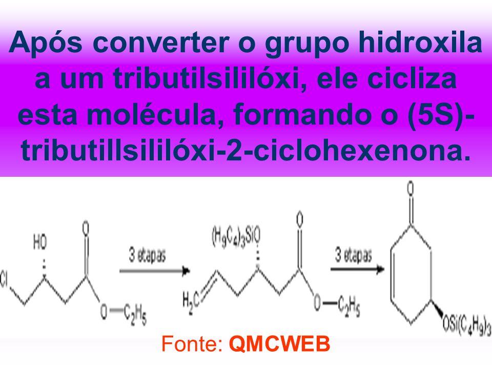 Após converter o grupo hidroxila a um tributilsililóxi, ele cicliza esta molécula, formando o (5S)- tributillsililóxi-2-ciclohexenona. Fonte: QMCWEB