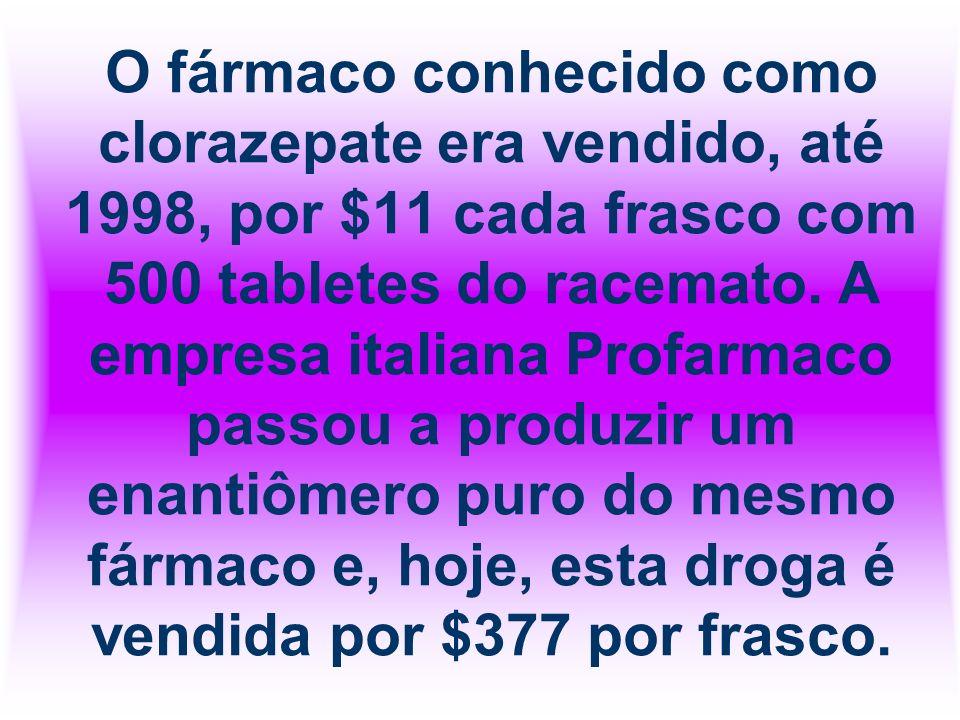 O fármaco conhecido como clorazepate era vendido, até 1998, por $11 cada frasco com 500 tabletes do racemato. A empresa italiana Profarmaco passou a p