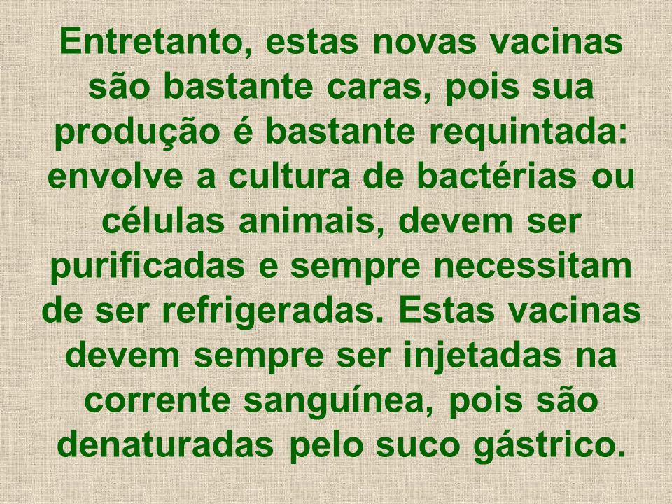 Entretanto, estas novas vacinas são bastante caras, pois sua produção é bastante requintada: envolve a cultura de bactérias ou células animais, devem