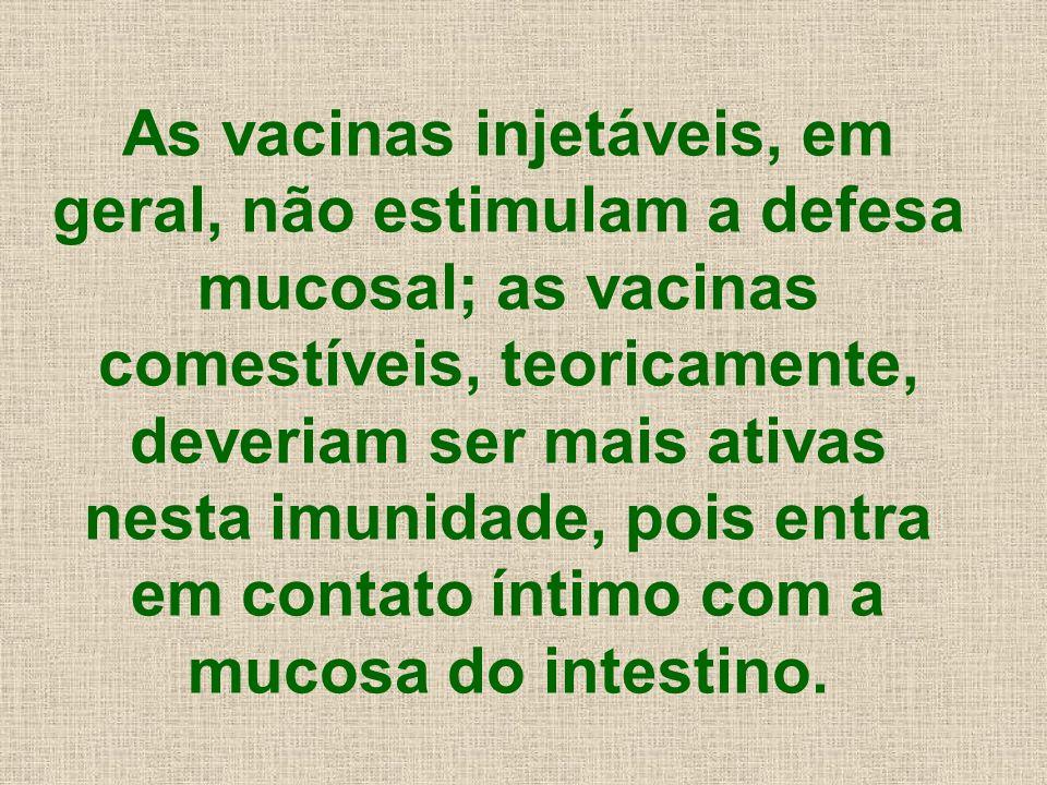 As vacinas injetáveis, em geral, não estimulam a defesa mucosal; as vacinas comestíveis, teoricamente, deveriam ser mais ativas nesta imunidade, pois