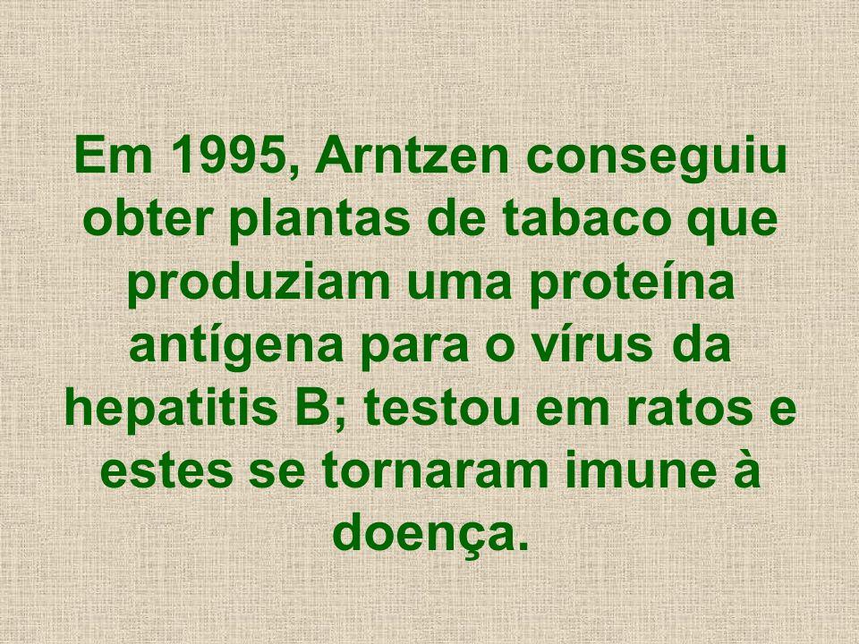 Em 1995, Arntzen conseguiu obter plantas de tabaco que produziam uma proteína antígena para o vírus da hepatitis B; testou em ratos e estes se tornara
