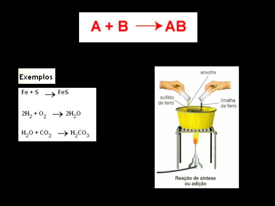 Decomposição (Análise) As reações de análise ou decomposição são o oposto das reações de síntese, ou seja, um reagente dá origem a produtos mais simples que ele.