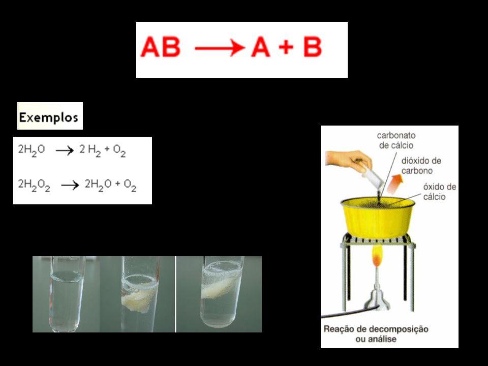 Simples Troca (Deslocamento) Na reação de deslocamento o processo é: B está ligado a A, sendo C mais forte, desloca A e assume a ligação com B.