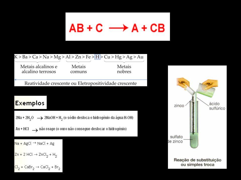 Dupla Troca Quando duas substâncias compostas reagem, produzindo duas novas substâncias compostas.