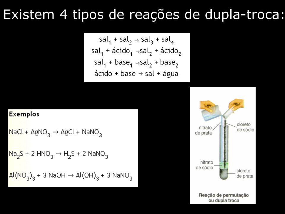 Existem 4 tipos de reações de dupla-troca: