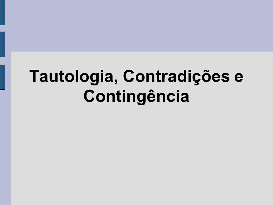 Tautologia, Contradições e Contingência