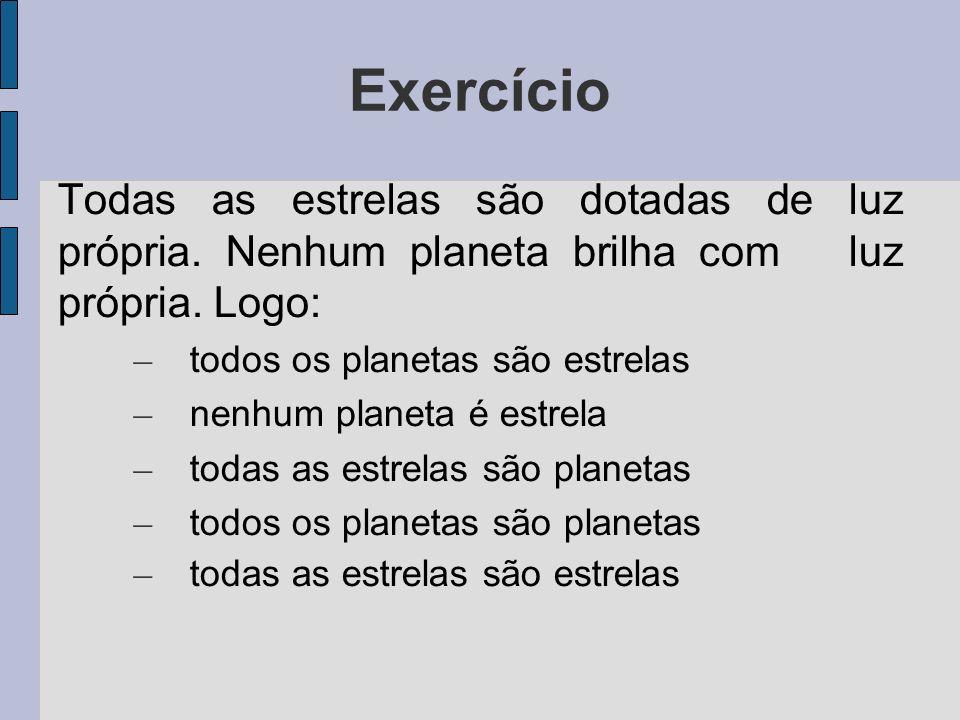 Exercício Todas as estrelas são dotadas de luz própria. Nenhum planeta brilha com luz própria. Logo: – todos os planetas são estrelas – nenhum planeta