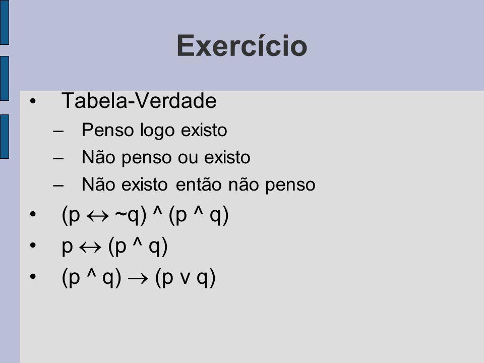 Exercício Tabela-Verdade –Penso logo existo –Não penso ou existo –Não existo então não penso (p ~q) ^ (p ^ q) p (p ^ q) (p ^ q) (p v q)
