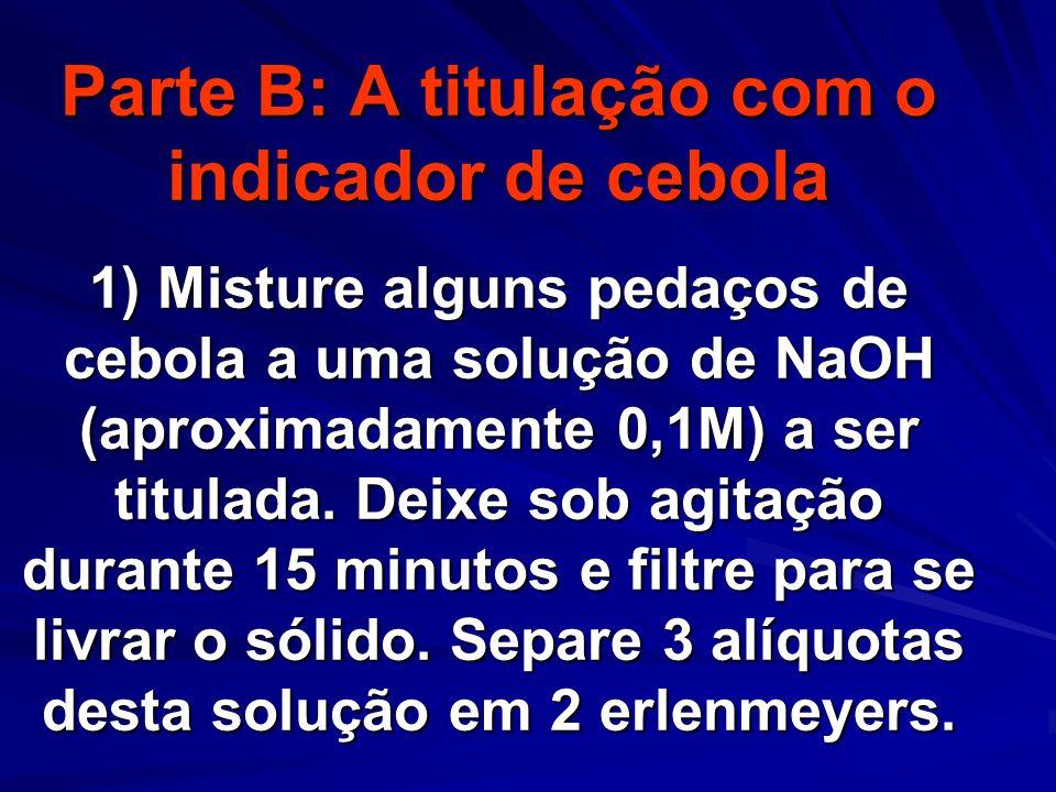 Parte B: A titulação com o indicador de cebola 1) Misture alguns pedaços de cebola a uma solução de NaOH (aproximadamente 0,1M) a ser titulada. Deixe