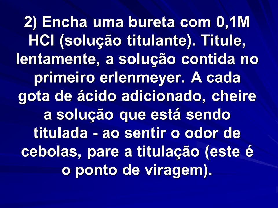 2) Encha uma bureta com 0,1M HCl (solução titulante).