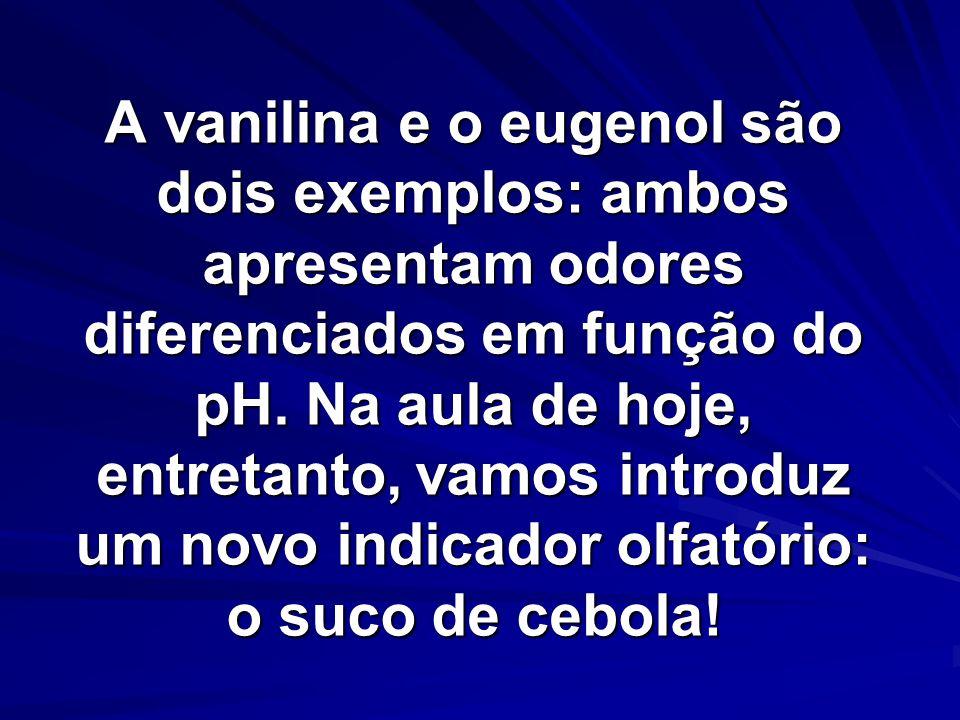 A vanilina e o eugenol são dois exemplos: ambos apresentam odores diferenciados em função do pH. Na aula de hoje, entretanto, vamos introduz um novo i