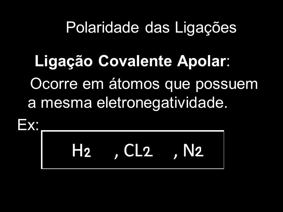 40 Polaridade das Ligações Ligação Covalente Apolar: Ocorre em átomos que possuem a mesma eletronegatividade. Ex: