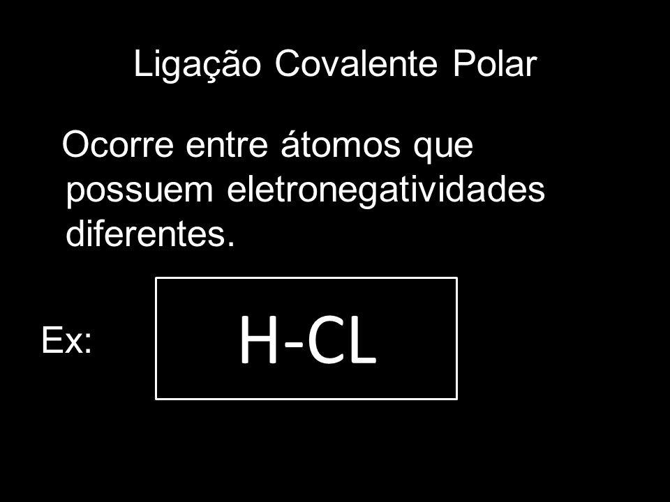 Ligação Covalente Polar Ocorre entre átomos que possuem eletronegatividades diferentes. Ex: H-CL