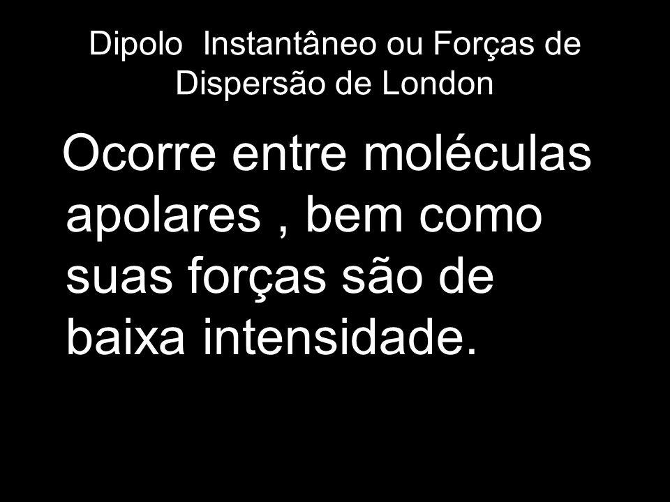 Dipolo Instantâneo ou Forças de Dispersão de London Ocorre entre moléculas apolares, bem como suas forças são de baixa intensidade.
