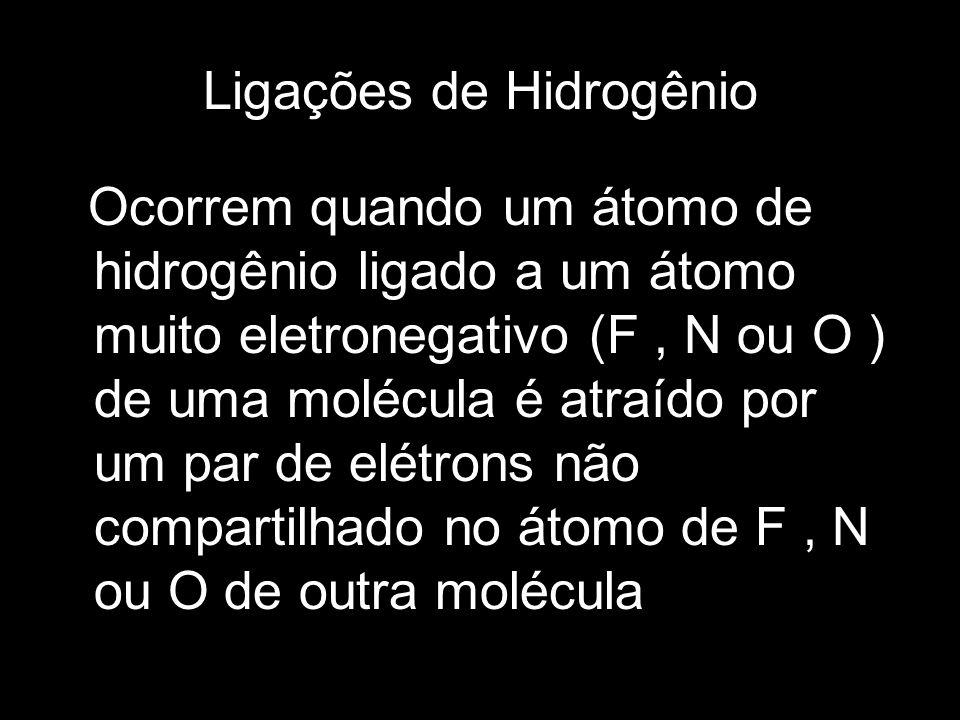 Ligações de Hidrogênio Ocorrem quando um átomo de hidrogênio ligado a um átomo muito eletronegativo (F, N ou O ) de uma molécula é atraído por um par