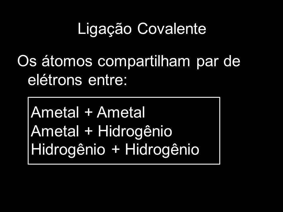 Ligação Covalente Os átomos compartilham par de elétrons entre: Ametal + Ametal Ametal + Hidrogênio Hidrogênio + Hidrogênio
