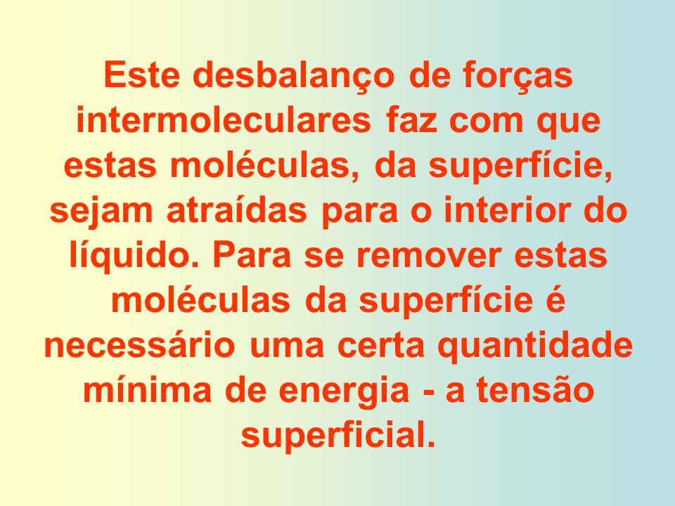 Este desbalanço de forças intermoleculares faz com que estas moléculas, da superfície, sejam atraídas para o interior do líquido. Para se remover esta