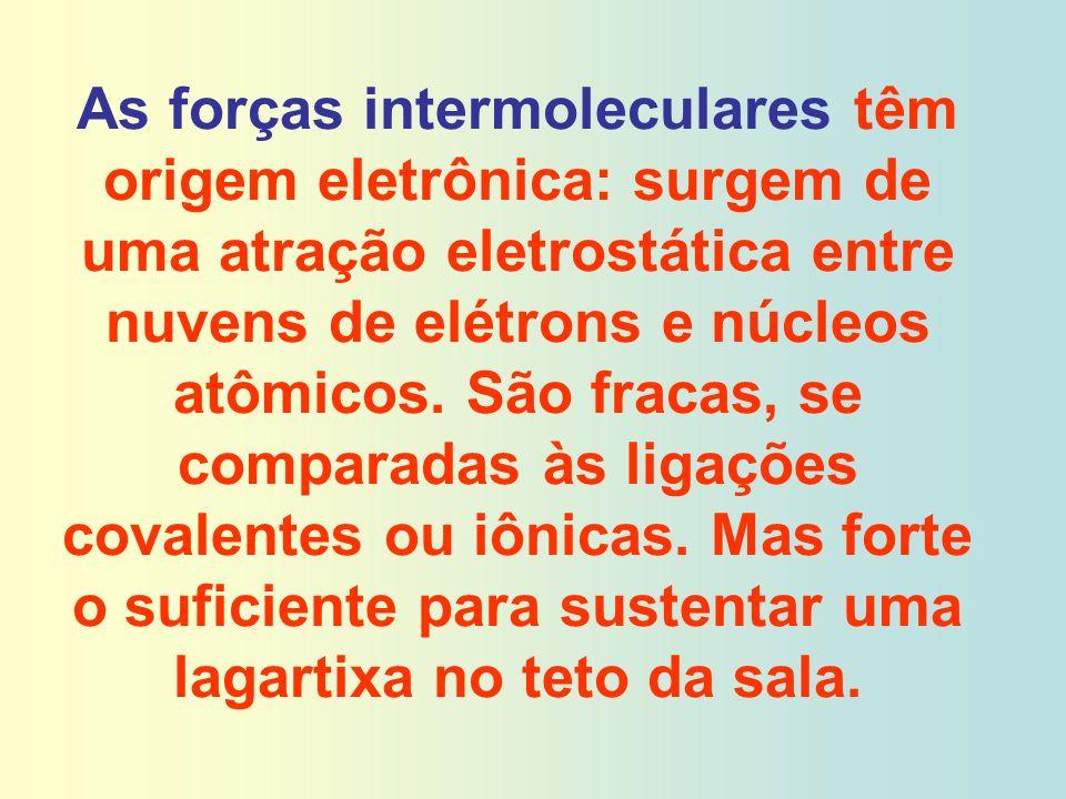 As forças intermoleculares têm origem eletrônica: surgem de uma atração eletrostática entre nuvens de elétrons e núcleos atômicos. São fracas, se comp
