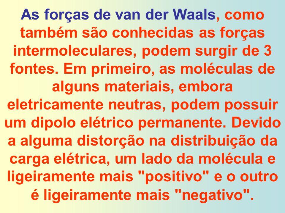 As forças de van der Waals, como também são conhecidas as forças intermoleculares, podem surgir de 3 fontes. Em primeiro, as moléculas de alguns mater