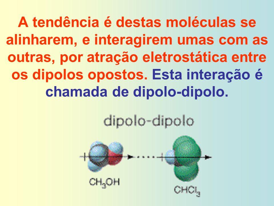 A tendência é destas moléculas se alinharem, e interagirem umas com as outras, por atração eletrostática entre os dipolos opostos. Esta interação é ch