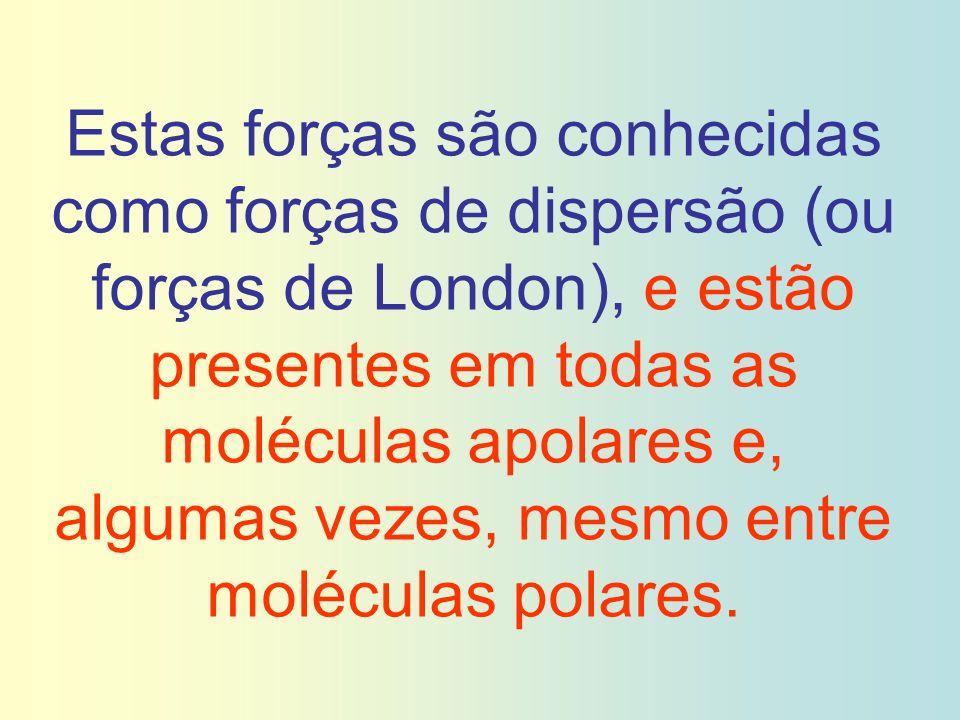 Estas forças são conhecidas como forças de dispersão (ou forças de London), e estão presentes em todas as moléculas apolares e, algumas vezes, mesmo e