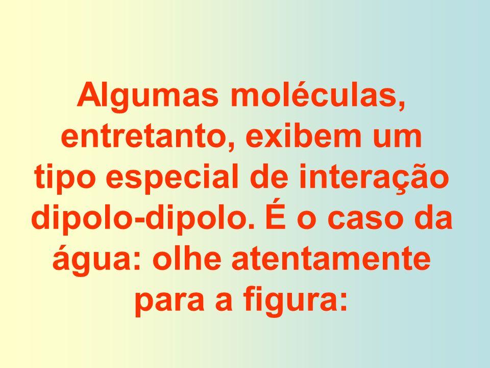 Algumas moléculas, entretanto, exibem um tipo especial de interação dipolo-dipolo. É o caso da água: olhe atentamente para a figura: