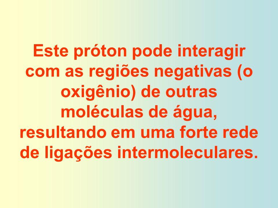 Este próton pode interagir com as regiões negativas (o oxigênio) de outras moléculas de água, resultando em uma forte rede de ligações intermoleculare