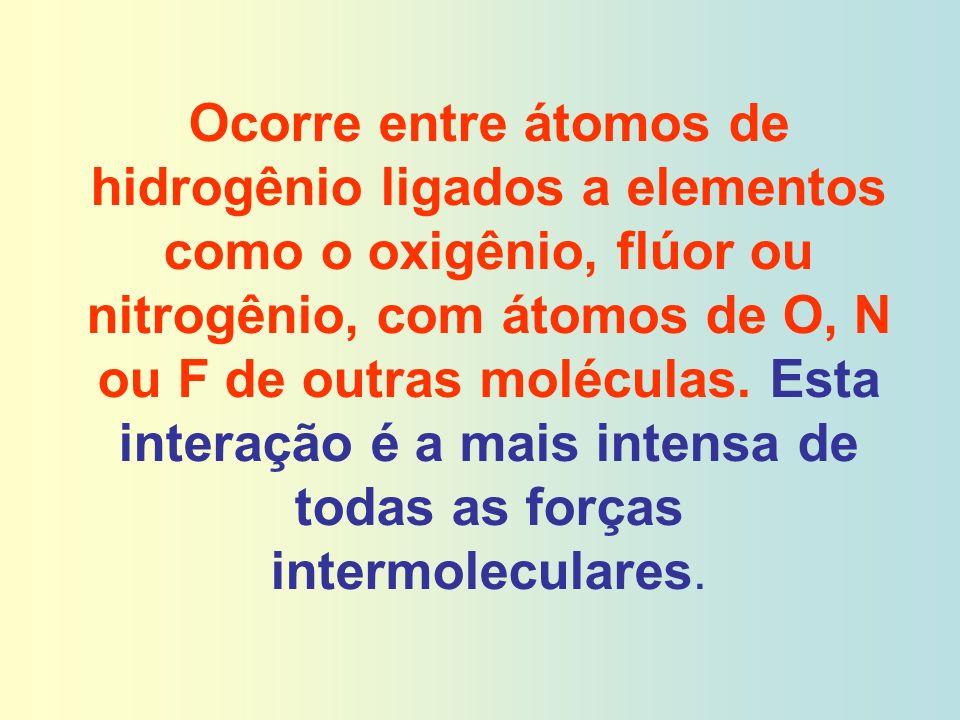 Ocorre entre átomos de hidrogênio ligados a elementos como o oxigênio, flúor ou nitrogênio, com átomos de O, N ou F de outras moléculas. Esta interaçã