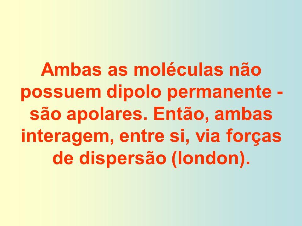Ambas as moléculas não possuem dipolo permanente - são apolares. Então, ambas interagem, entre si, via forças de dispersão (london).