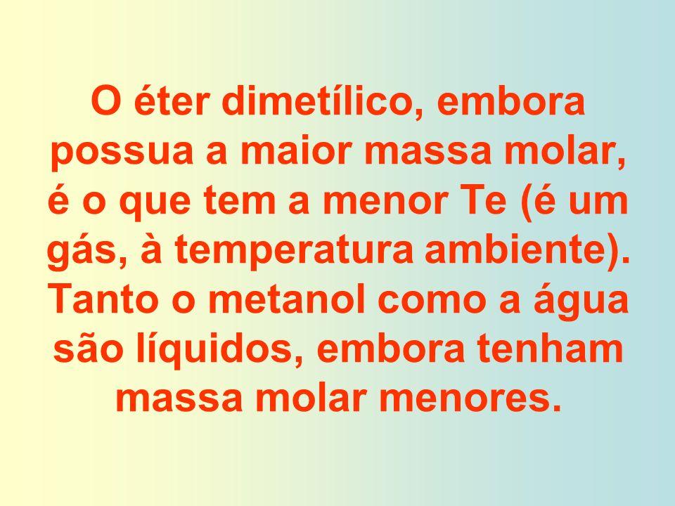O éter dimetílico, embora possua a maior massa molar, é o que tem a menor Te (é um gás, à temperatura ambiente). Tanto o metanol como a água são líqui