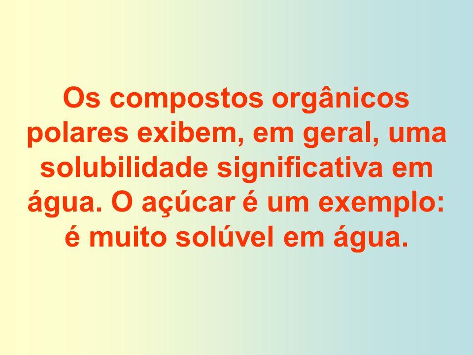 Os compostos orgânicos polares exibem, em geral, uma solubilidade significativa em água. O açúcar é um exemplo: é muito solúvel em água.