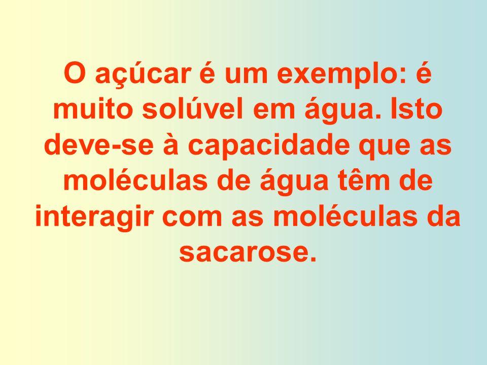 O açúcar é um exemplo: é muito solúvel em água. Isto deve-se à capacidade que as moléculas de água têm de interagir com as moléculas da sacarose.
