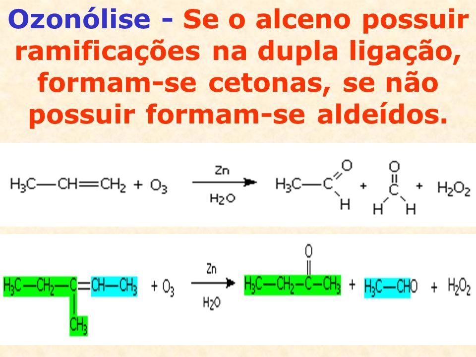 Hidratação - É o inverso da desidratação (reação de obtenção de alcenos).