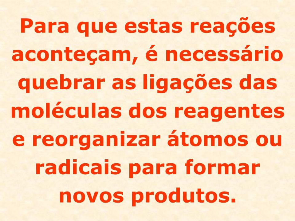 As reações orgânicas são geralmente reações mais lentas, pois são reações moleculares, ou seja, ocorre entre moléculas.