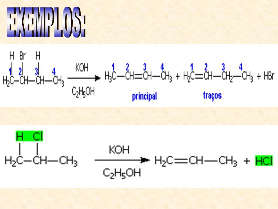 Assim como nos álcoois, os haletos orgânicos podem perder uma molécula de HX.
