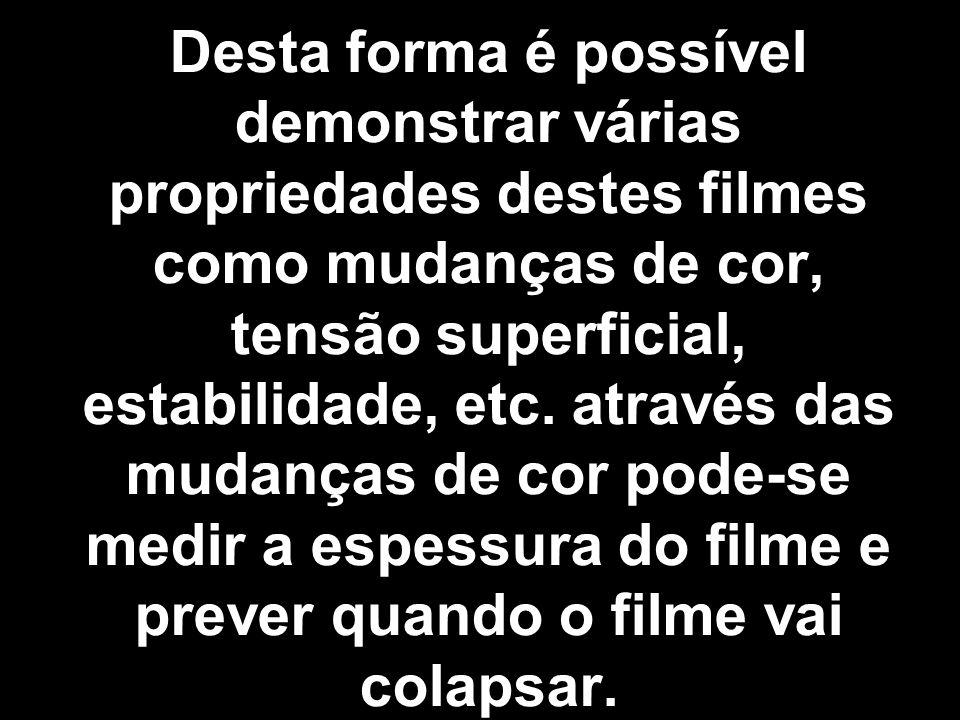 Desta forma é possível demonstrar várias propriedades destes filmes como mudanças de cor, tensão superficial, estabilidade, etc. através das mudanças