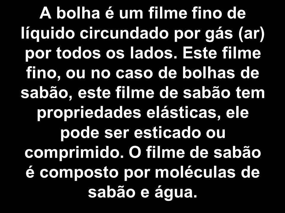 A bolha é um filme fino de líquido circundado por gás (ar) por todos os lados. Este filme fino, ou no caso de bolhas de sabão, este filme de sabão tem