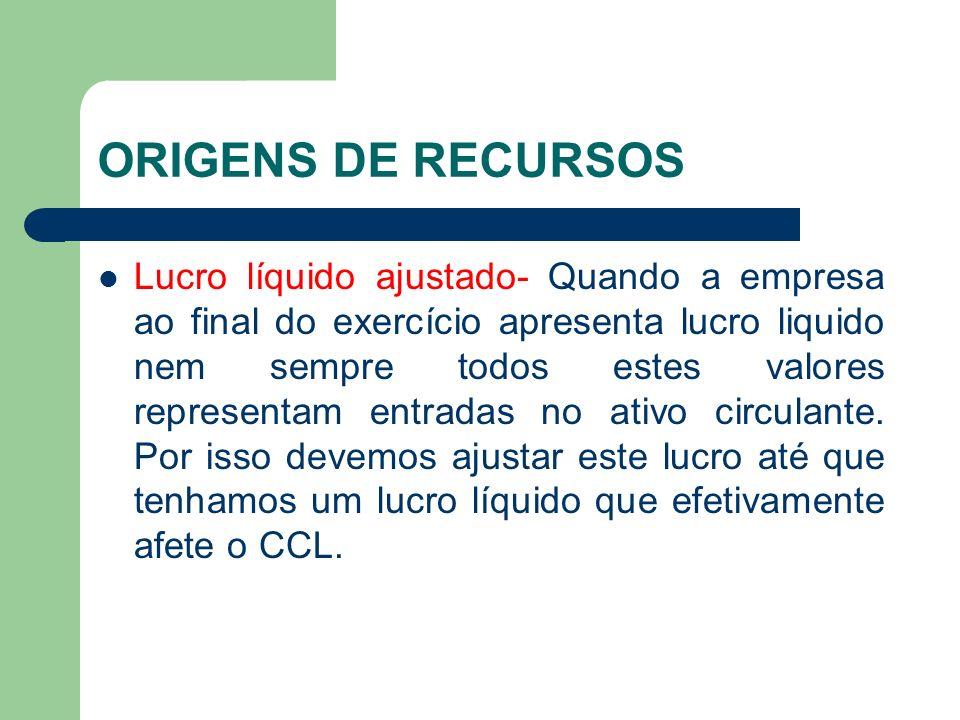ORIGENS DE RECURSOS Lucro líquido ajustado- Quando a empresa ao final do exercício apresenta lucro liquido nem sempre todos estes valores representam