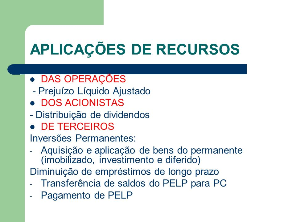 APLICAÇÕES DE RECURSOS DAS OPERAÇÕES - Prejuízo Líquido Ajustado DOS ACIONISTAS - Distribuição de dividendos DE TERCEIROS Inversões Permanentes: - Aqu