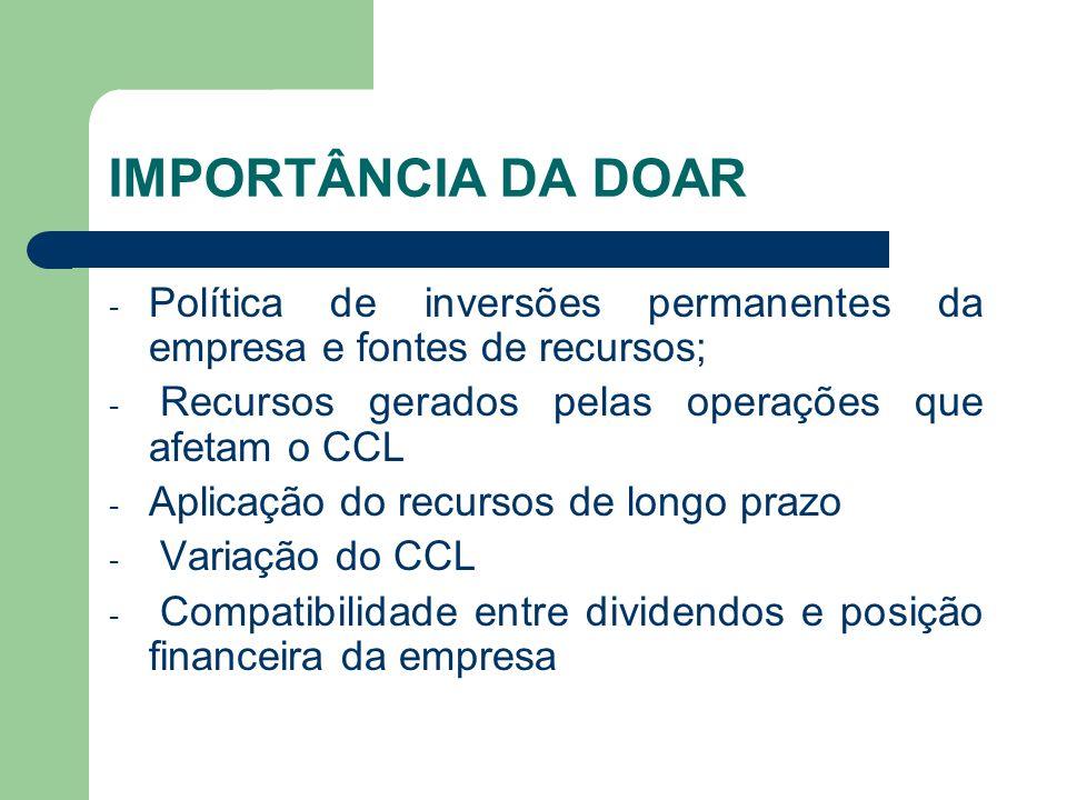IMPORTÂNCIA DA DOAR - Política de inversões permanentes da empresa e fontes de recursos; - Recursos gerados pelas operações que afetam o CCL - Aplicaç