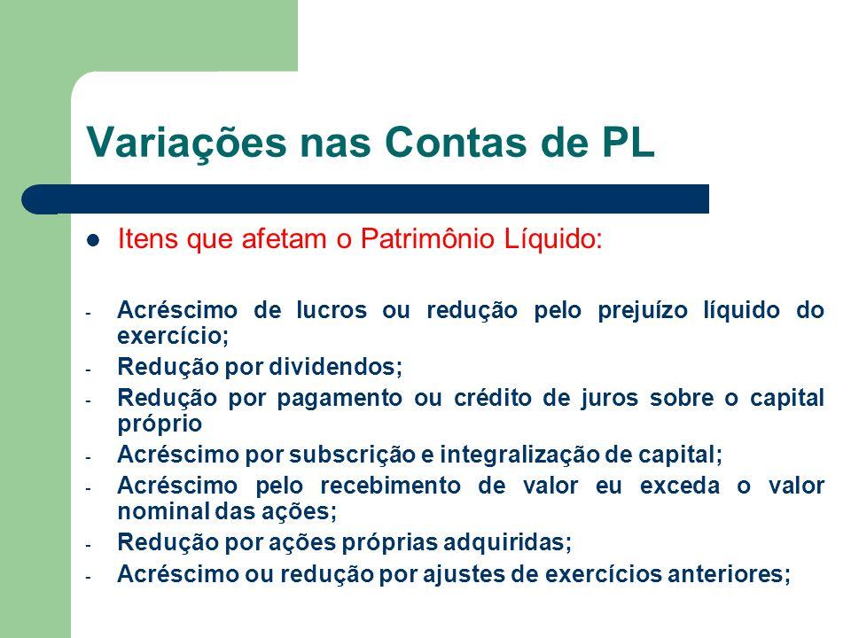 Variações nas Contas de PL Itens que afetam o Patrimônio Líquido: - Acréscimo de lucros ou redução pelo prejuízo líquido do exercício; - Redução por d