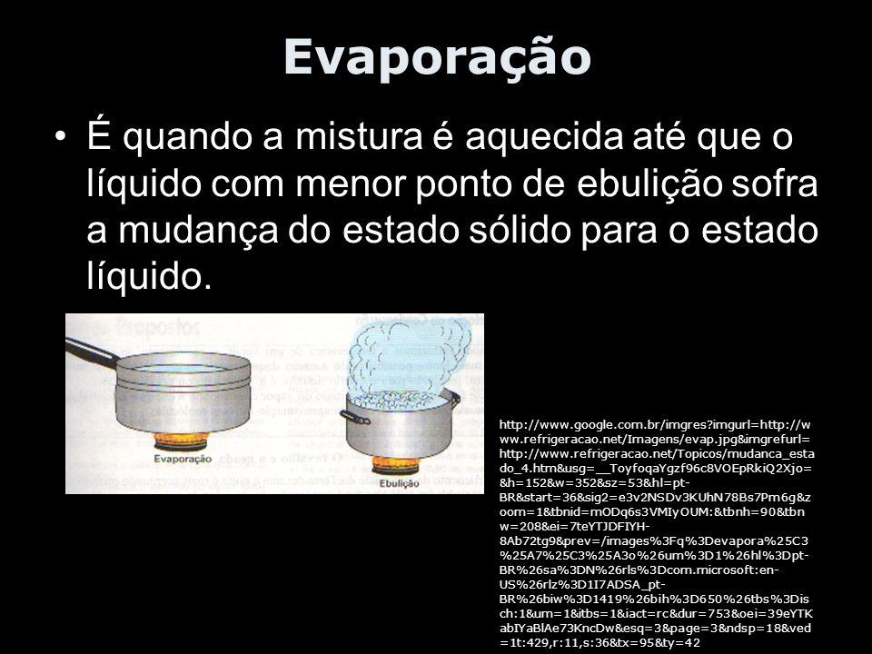 Evaporação É quando a mistura é aquecida até que o líquido com menor ponto de ebulição sofra a mudança do estado sólido para o estado líquido. http://