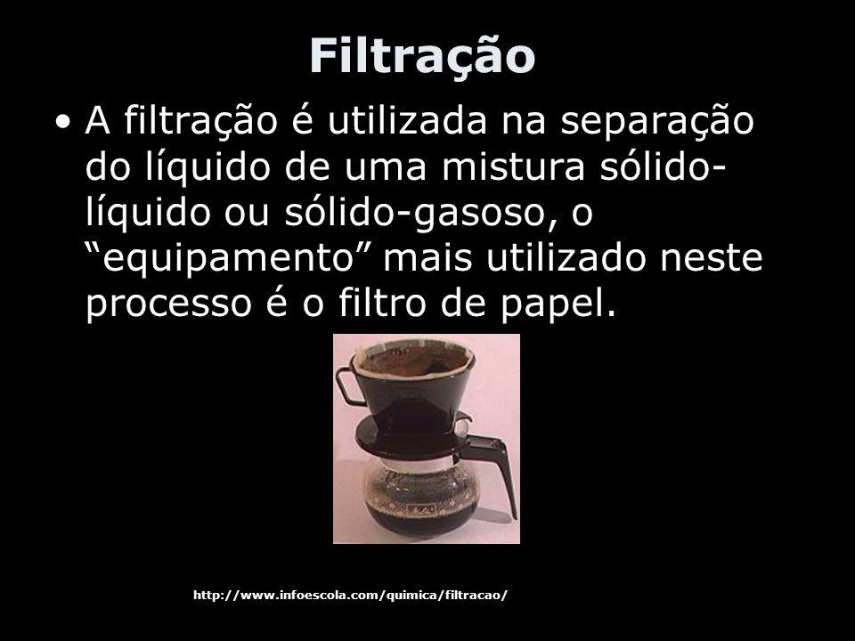 Filtração A filtração é utilizada na separação do líquido de uma mistura sólido- líquido ou sólido-gasoso, o equipamento mais utilizado neste processo